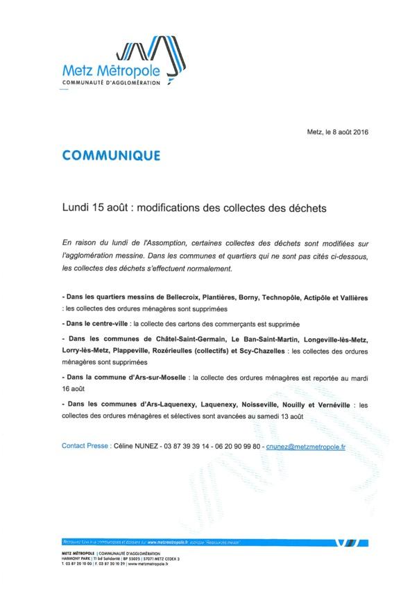 COLLECTE DES DECHETS reportée