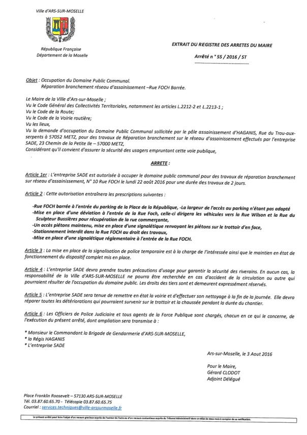 TRAVAUX - RUE FOCH FERMEE lundi 22 et mardi 23 août
