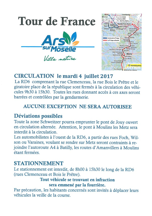PASSAGE DU TOUR DE FRANCE mardi 4 juillet