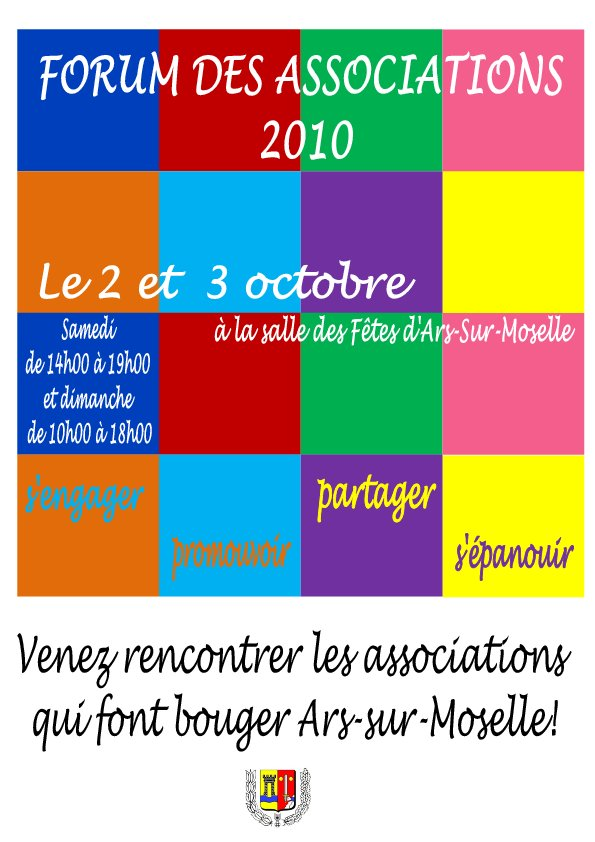 Forum des associations le 2 et 3 octobre.