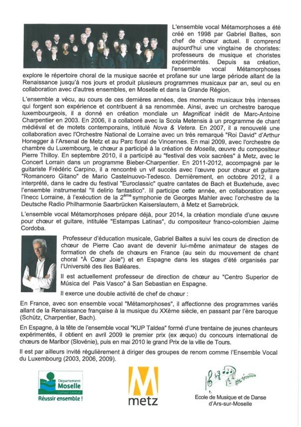 CONCERT DE L'ENSEMBLE VOCAL METAMORPHOSES vendredi 21 juin