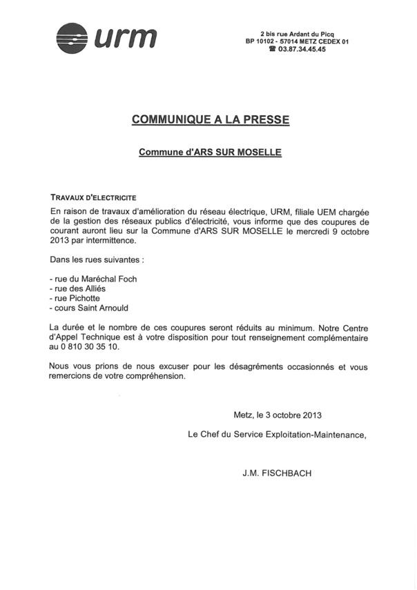 COUPURES DE COURANT le mercredi 9 octobre