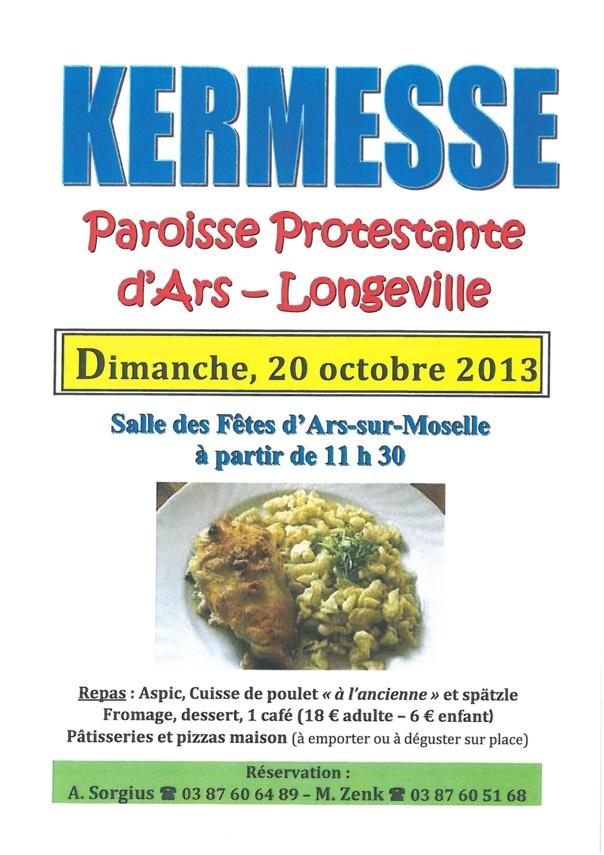 REPAS KERMESSE PAROISSE PROTESTANTE dimanche 20 octobre