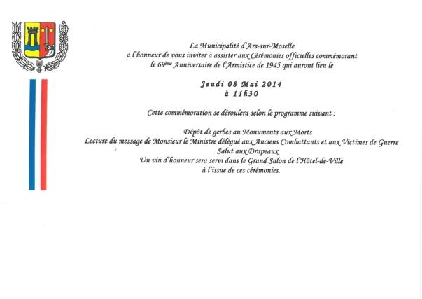 69éme ANNIVERSAIRE DE L'ARMISTICE DE 1945 jeudi 8 mai à 11h30