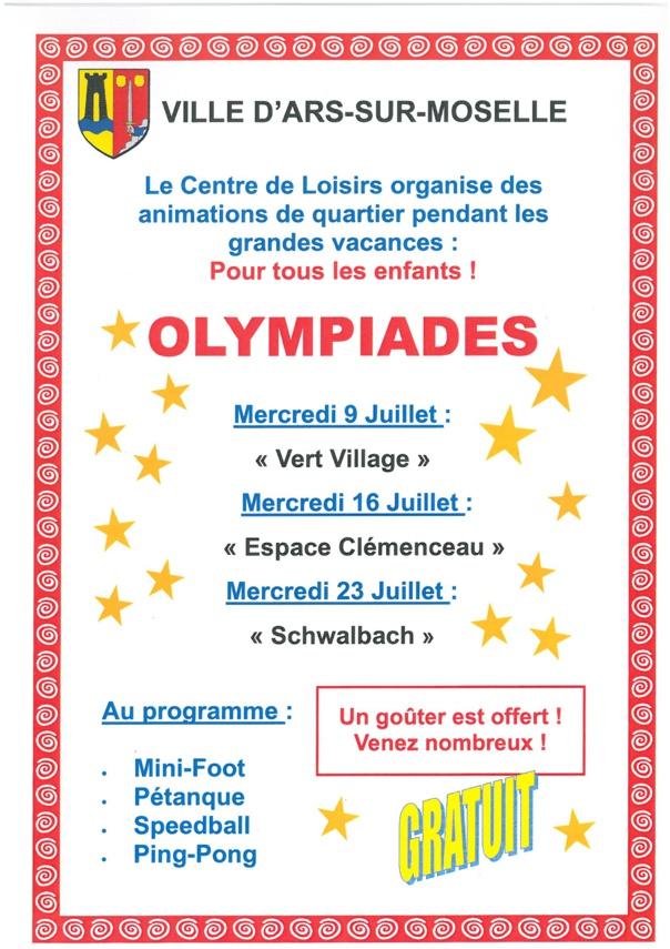 OLYMPIADES pour tous les enfants les 9/16 et 23 juillet