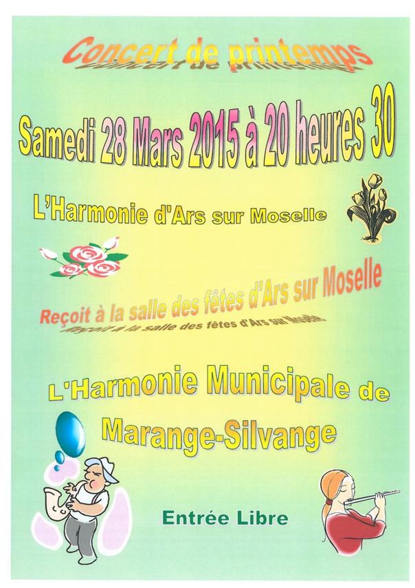 CONCERT DE PRINTEMPS de l'harmonie municipale samedi 28 mars