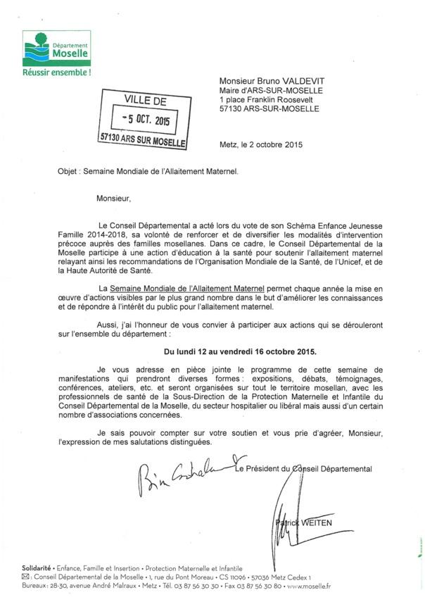 SEMAINE MONDIALE DE L'ALLAITEMENT MATERNEL du 12 du 16 octobre