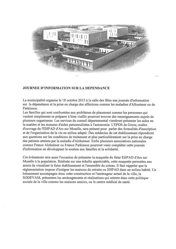 JOURNEE D'INFORMATION SUR LA DEPENDANCE dimanche 18 octobre