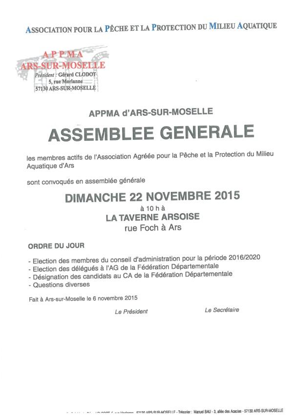 ASSEMBLEE GENERALE ANNUELLE DE LA PECHE dimanche 22 novembre