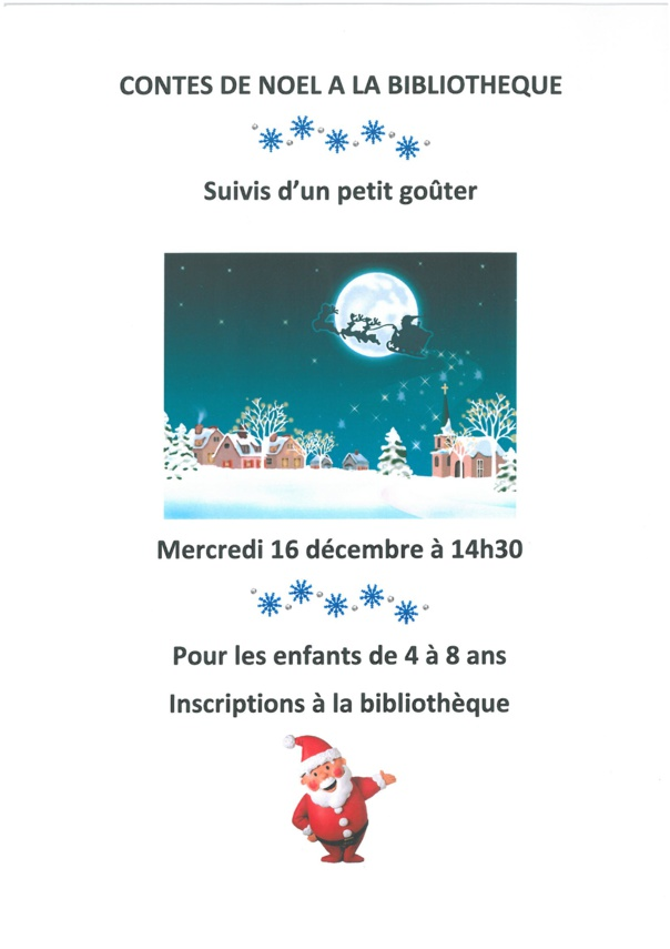 CONTES DE NOEL A LA BIBLIOTHEQUE mercredi 16 décembre