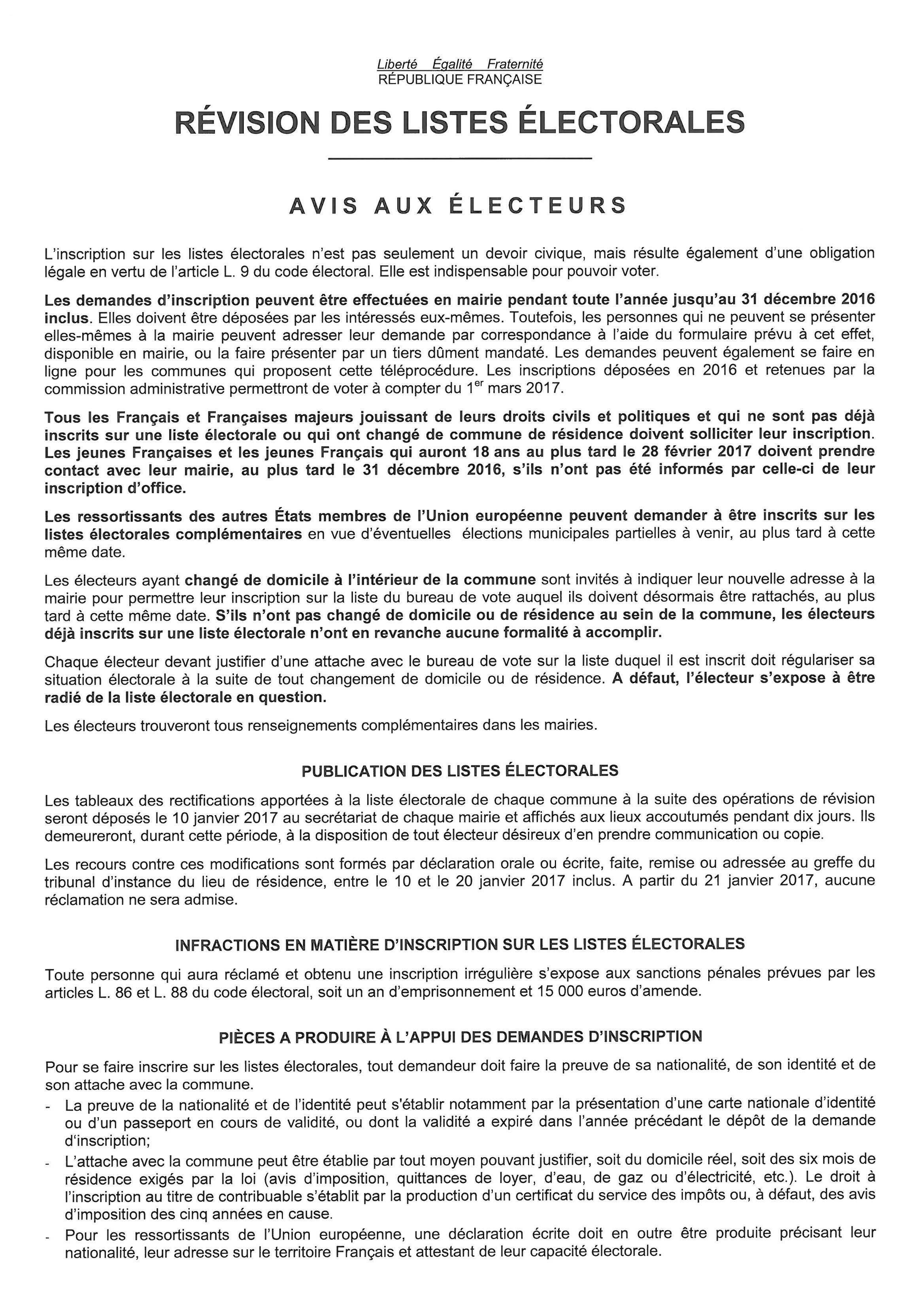 REVISION DES LISTES ELECTORALES