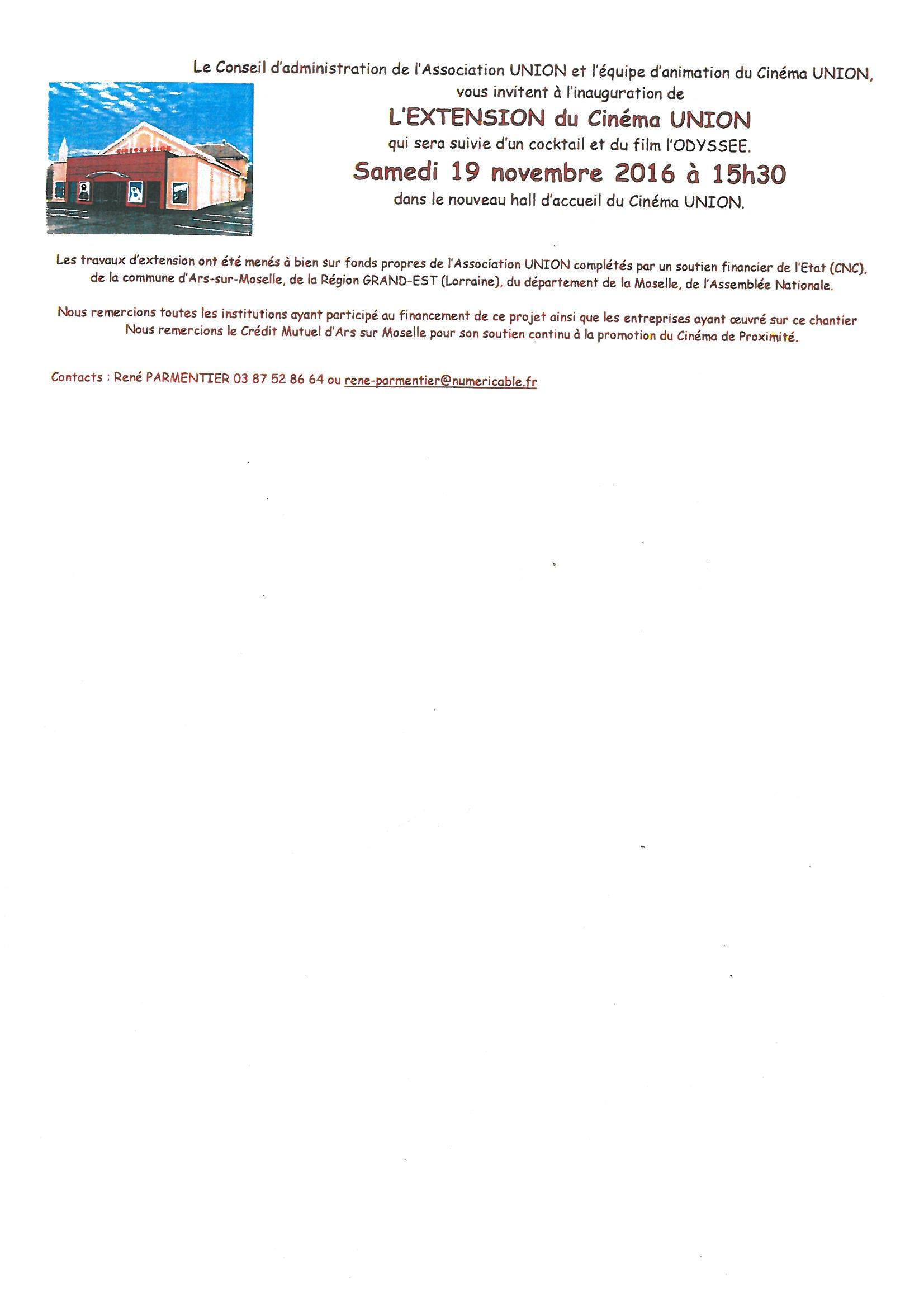 INAUGURATION de l'EXTENSION du CINEMA UNION samedi 19 novembre