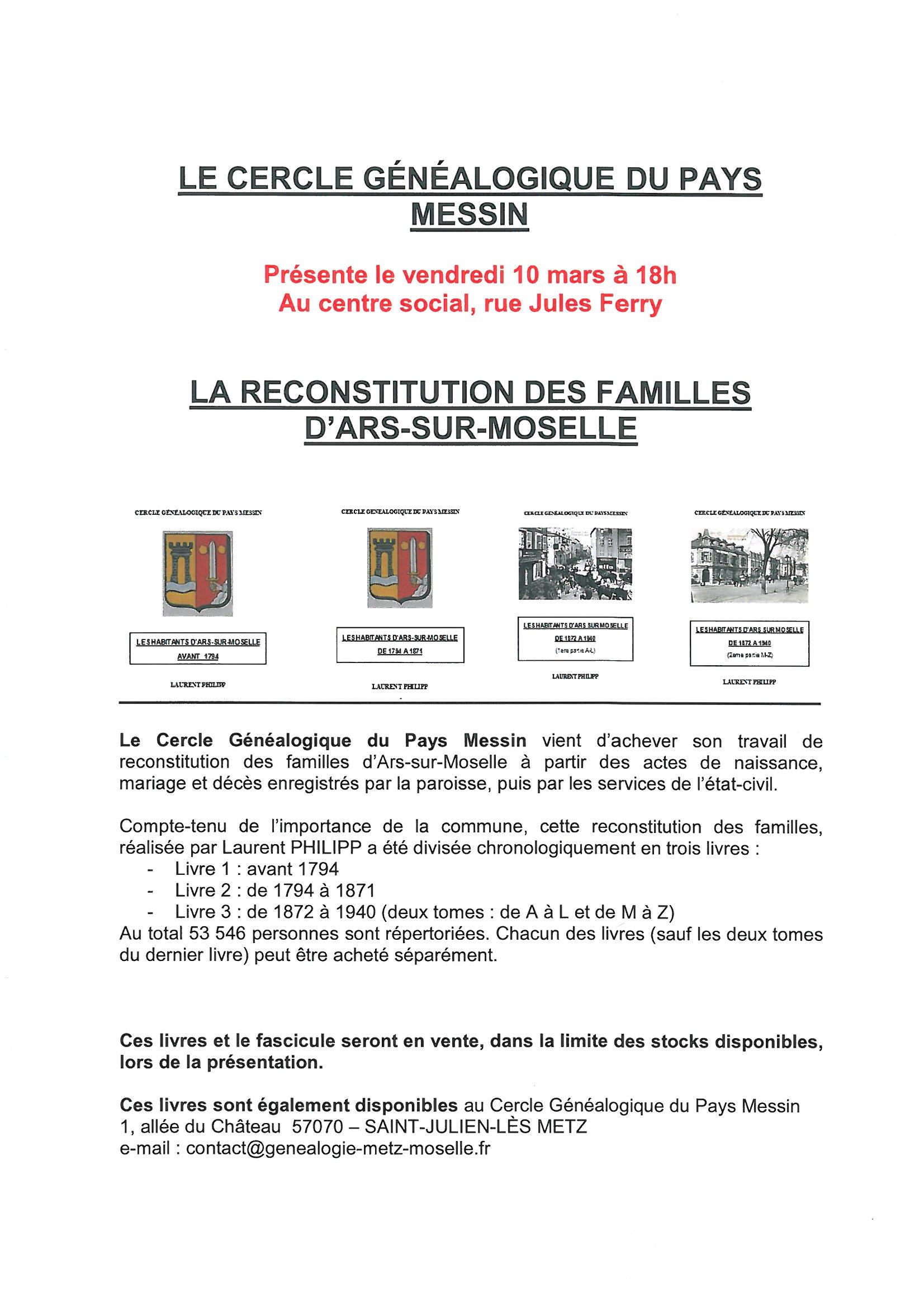 CONFERENCE SUR LA RECONSTITUTION DES FAMILLES vendredi 10 mars