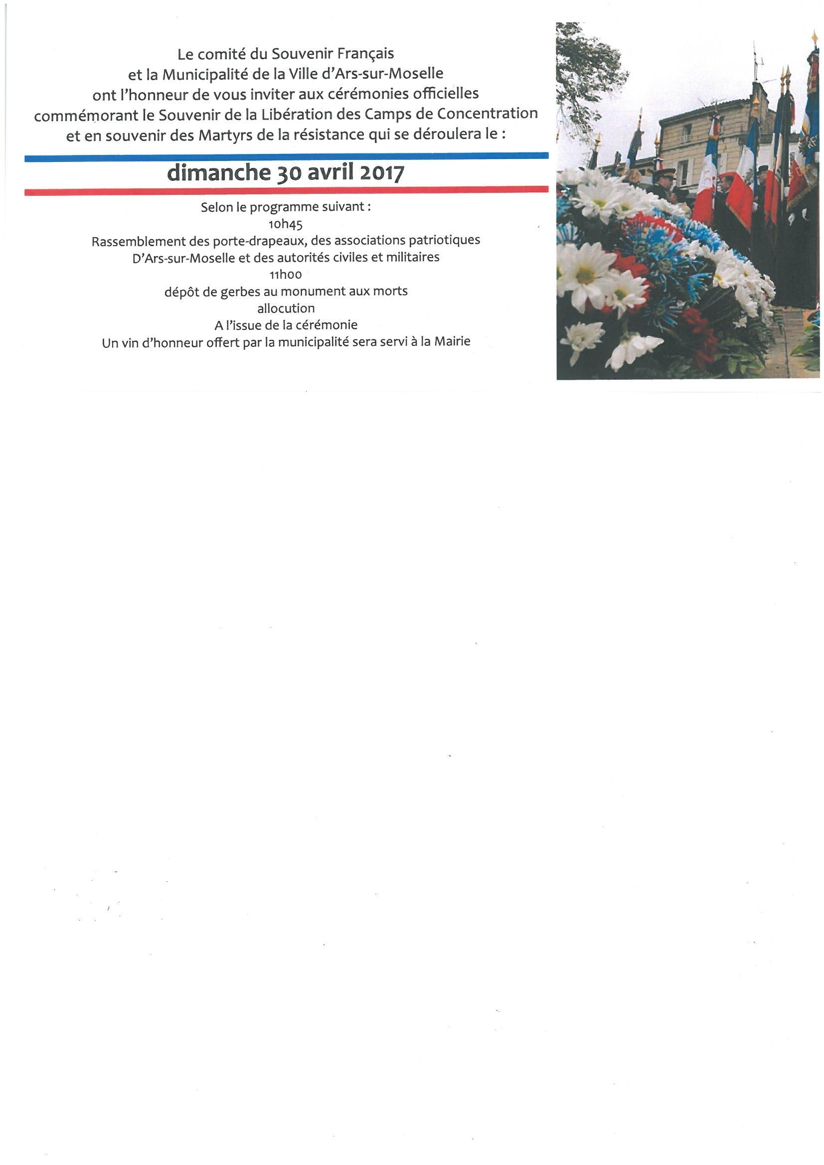 CEREMONIE SOUVENIR LIBERATION CAMPS DE CONCENTRATION et MARTYRS DE LA RESISTANCE dimanche 30 avril