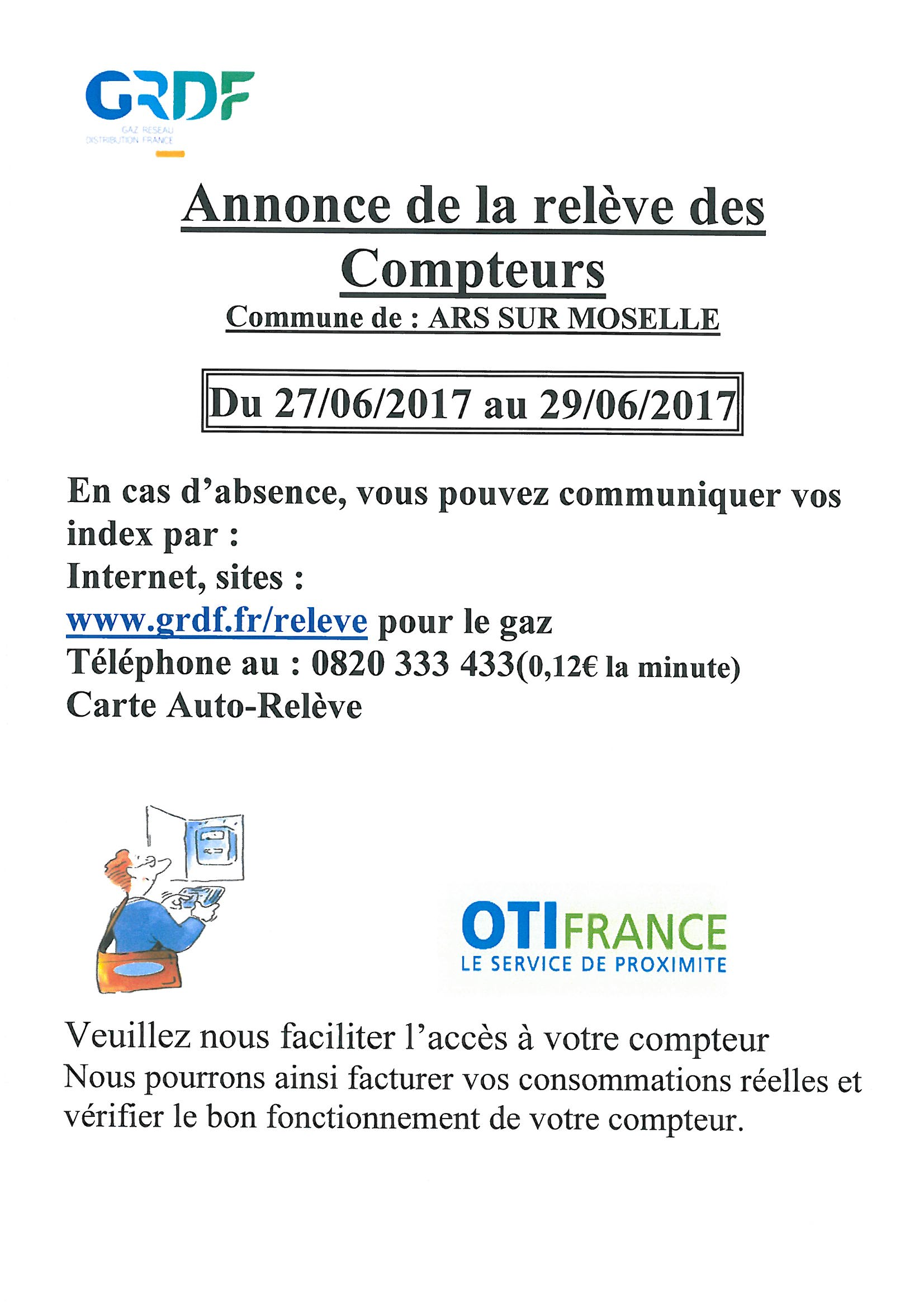 RELEVE DES COMPTEURS GAZ du 27 au 29 juin
