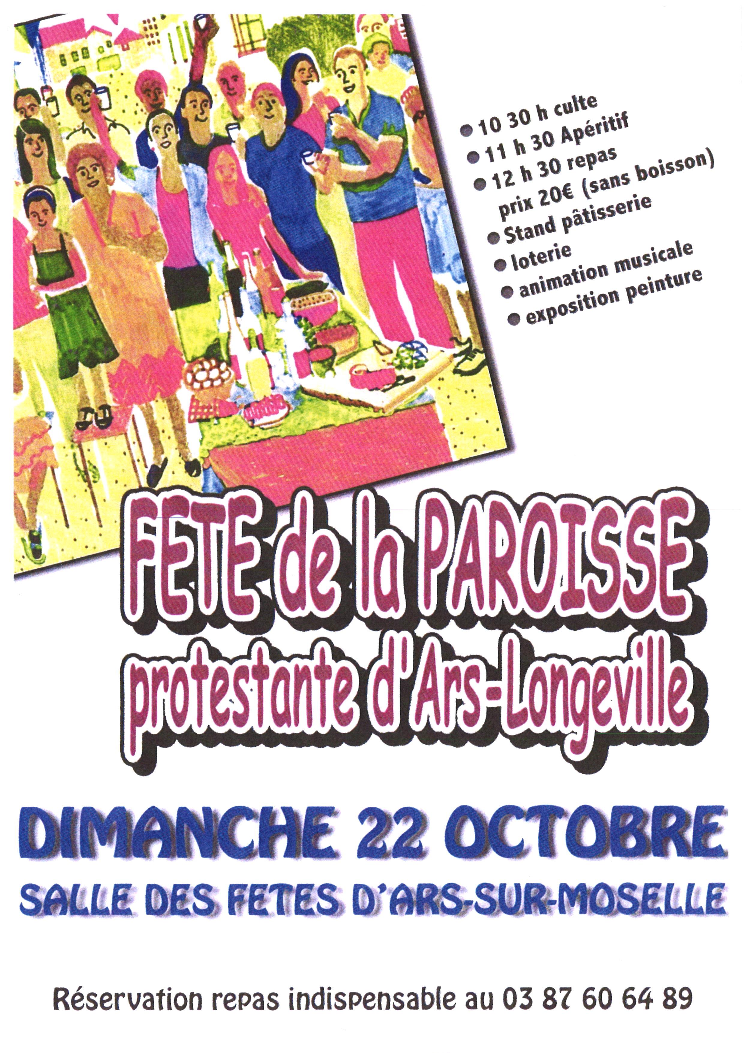 FETE DE LA PAROISSE PROTESTANTE D'ARS-LONGEVILLE dimanche 22 octobre