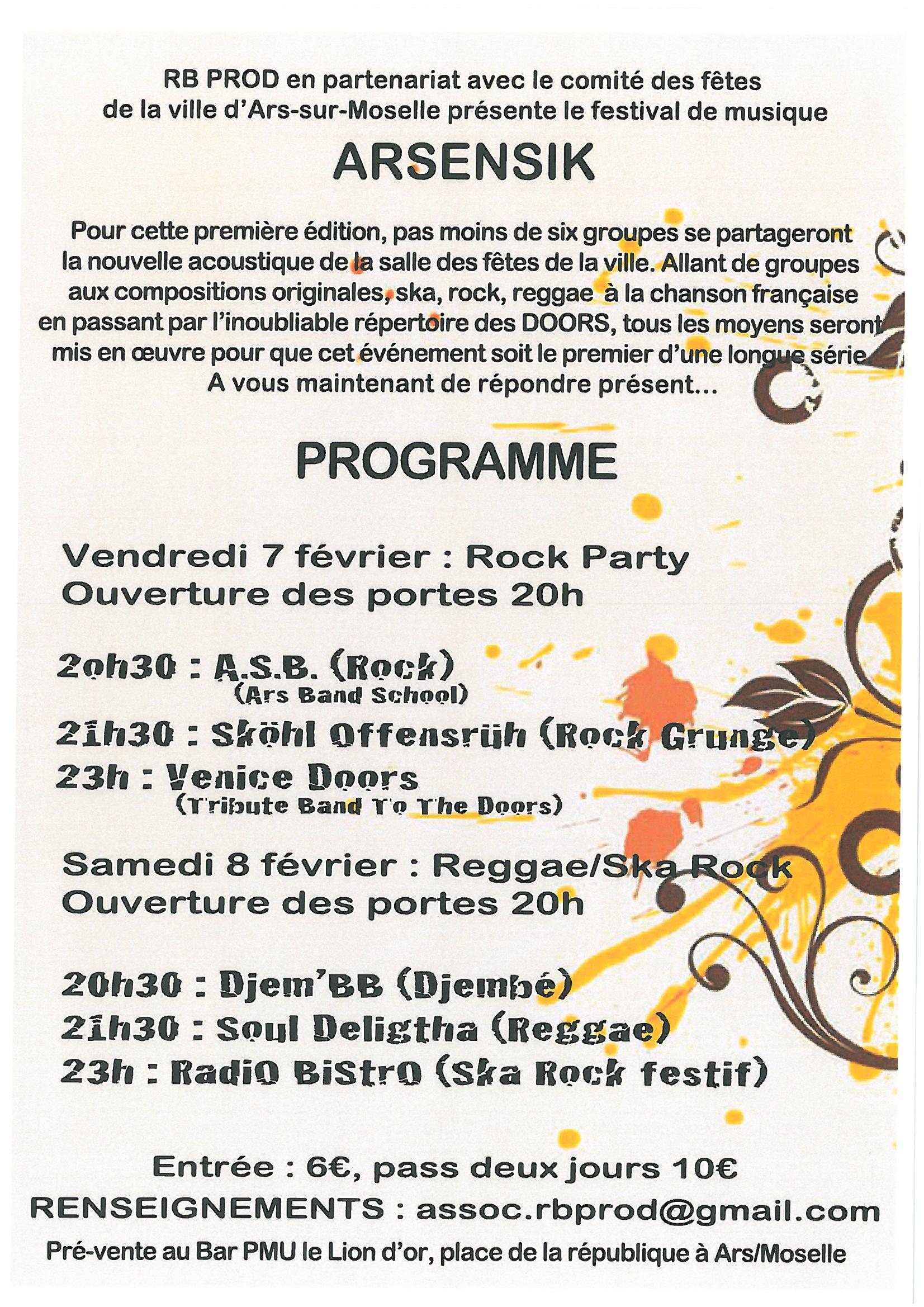 FESTIVAL DE MUSIQUE vendredi 7 et samedi 8 février