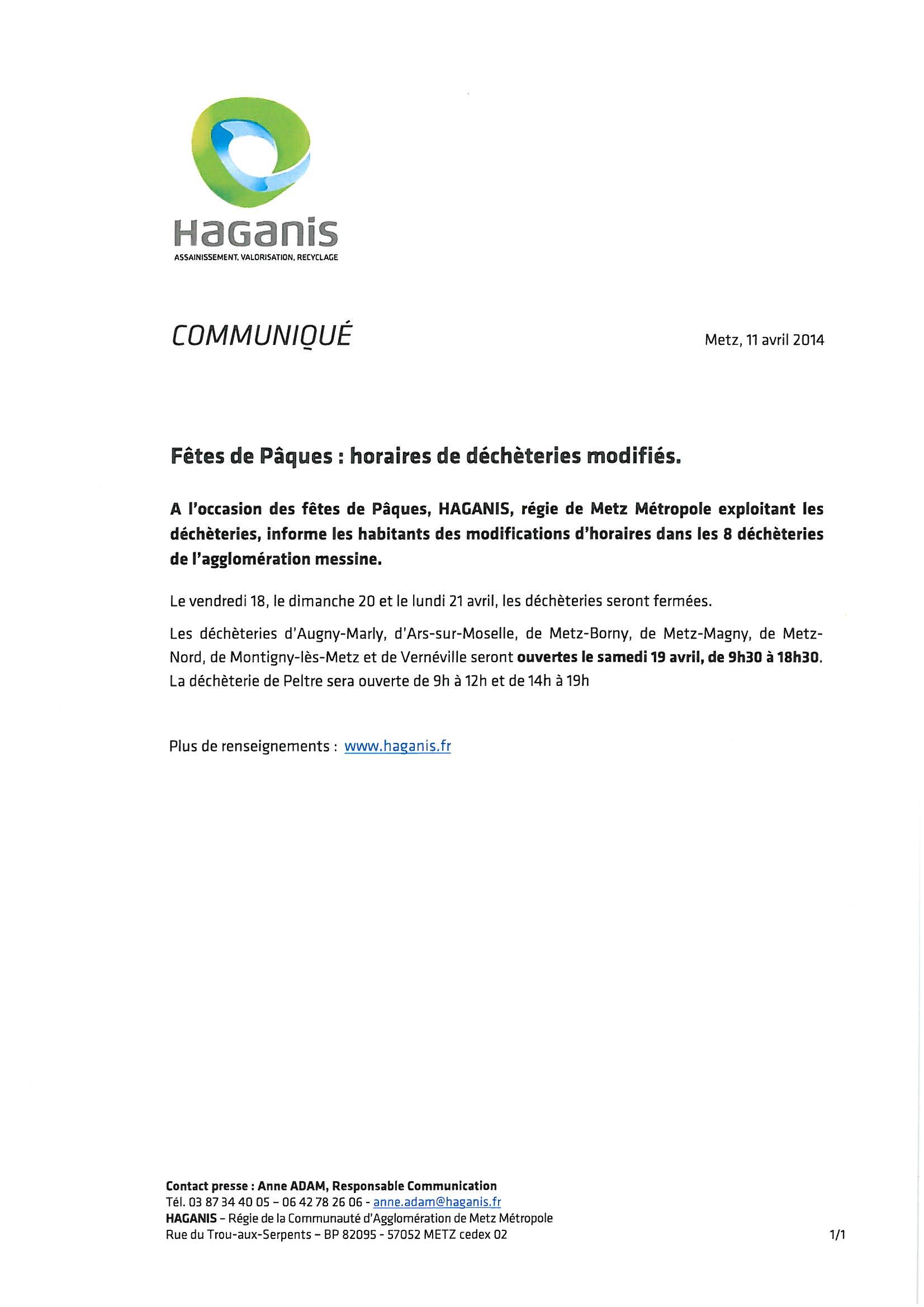 HORAIRES DECHETTERIE FETES DE PAQUES