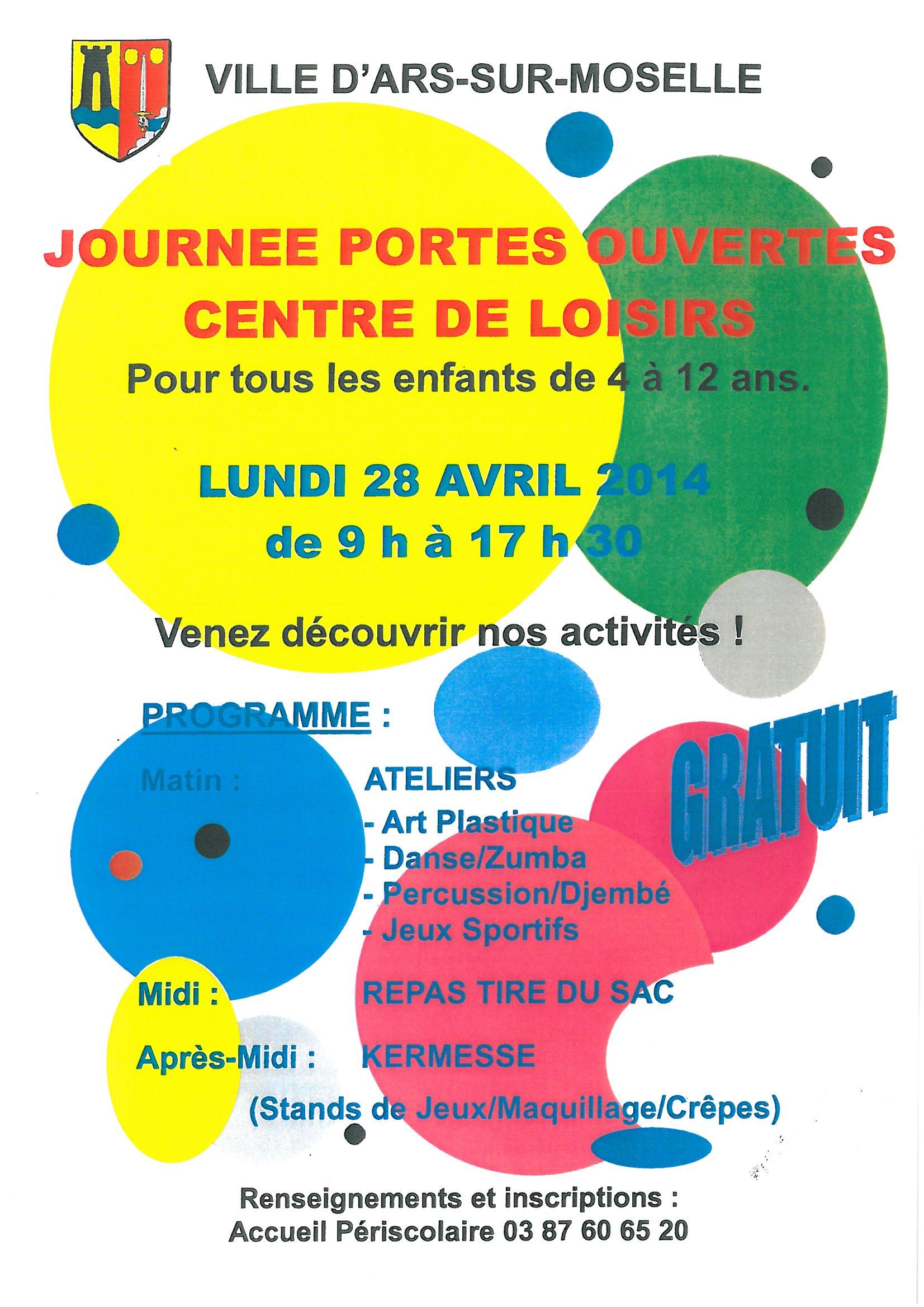 JOURNEE PORTES OUVERTES CENTRE DE LOISIRS lundi 28 avril