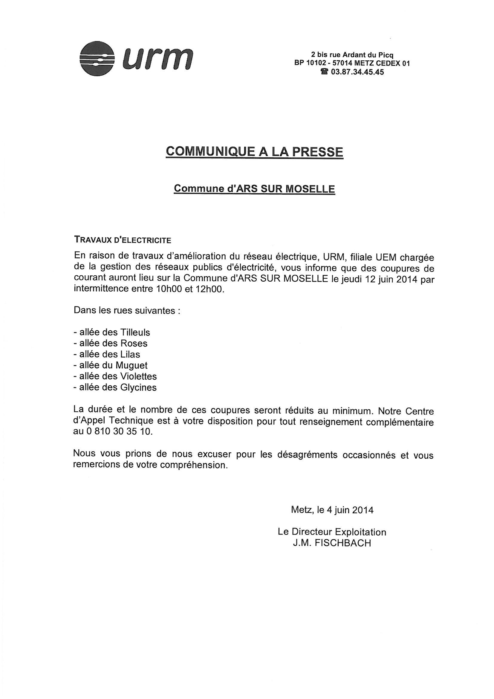 TRAVAUX D'ELECTRICITE URM  jeudi 12 juin