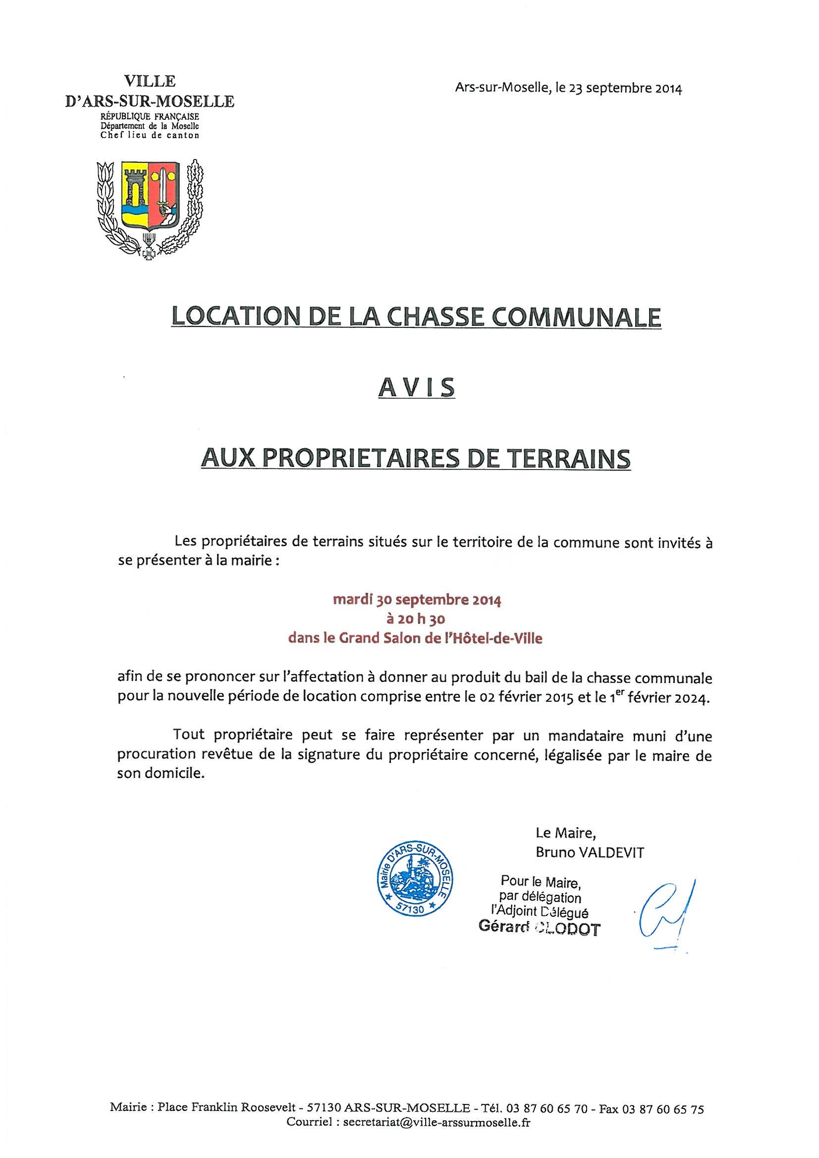 LOCATION DE LA CHASSE COMMUNALE - AFFECTATION DU PRODUIT DU BAIL mardi 30 septembre