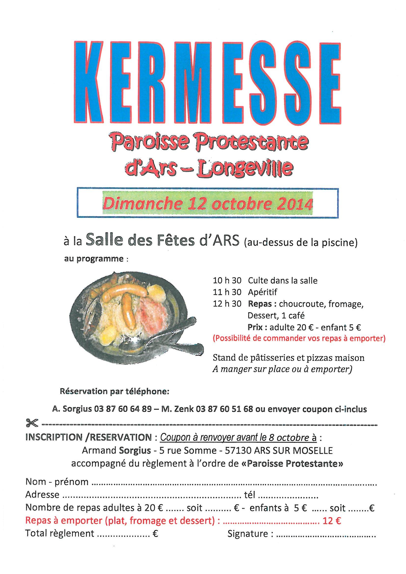 KERMESSE PAROISSE PROTESTANTE dimanche 12 octobre