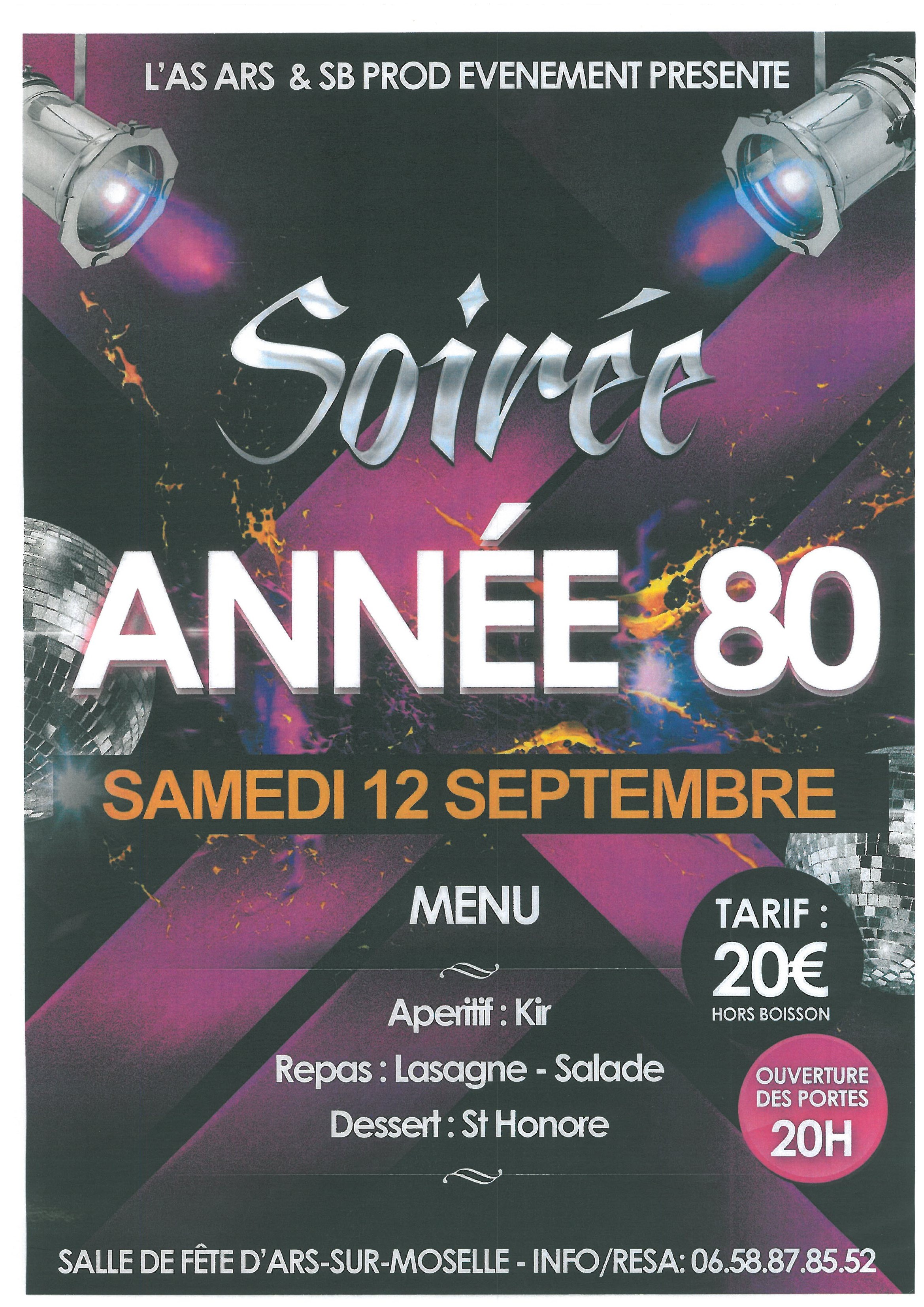SOIREE ANNEE 80 samedi 12 septembre