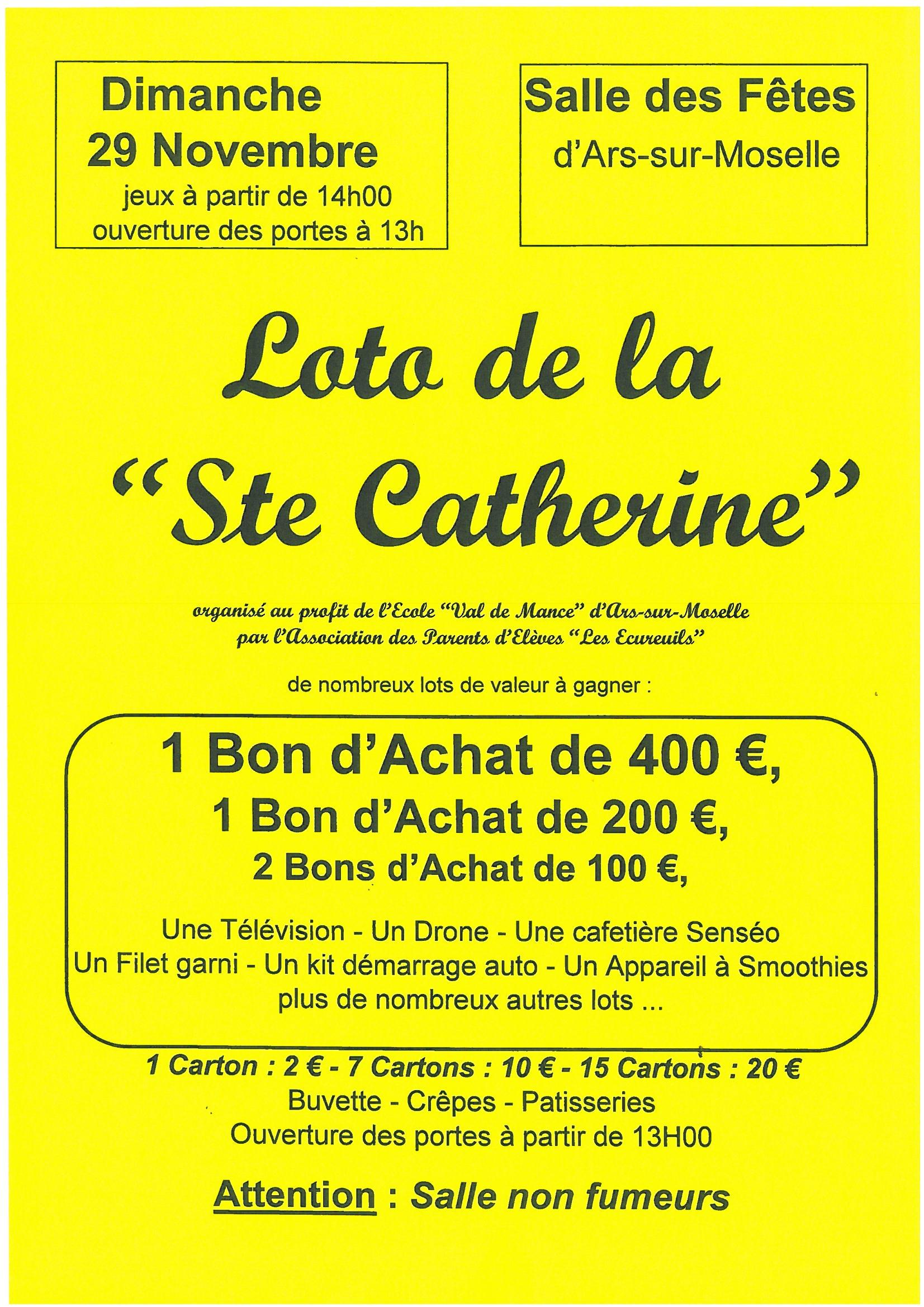 LOTO DE LA SAINTE CATHERINE dimanche 29 novemre