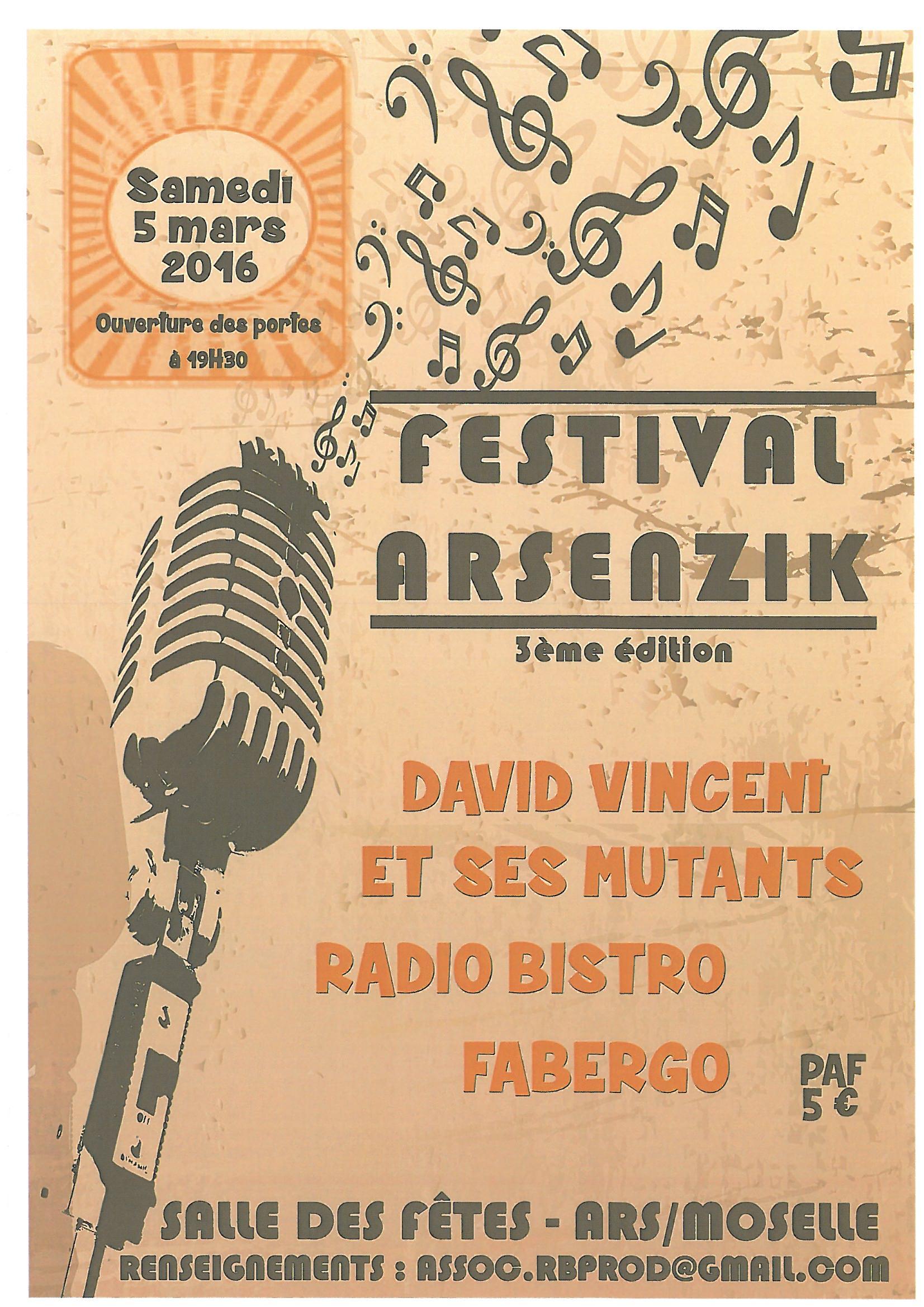FESTIVAL ARSENZIK samedi 5 mars