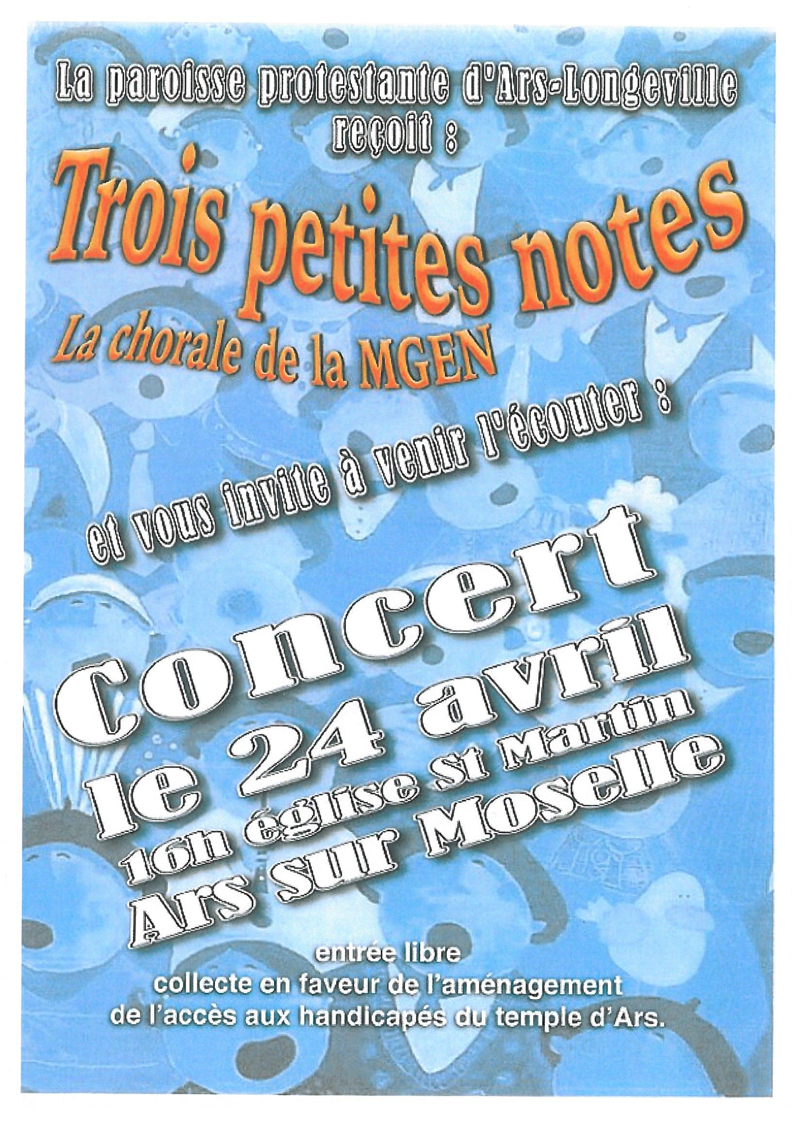 """CONCERT """"TROIS PETITES NOTES"""" dimanche 24 avril"""