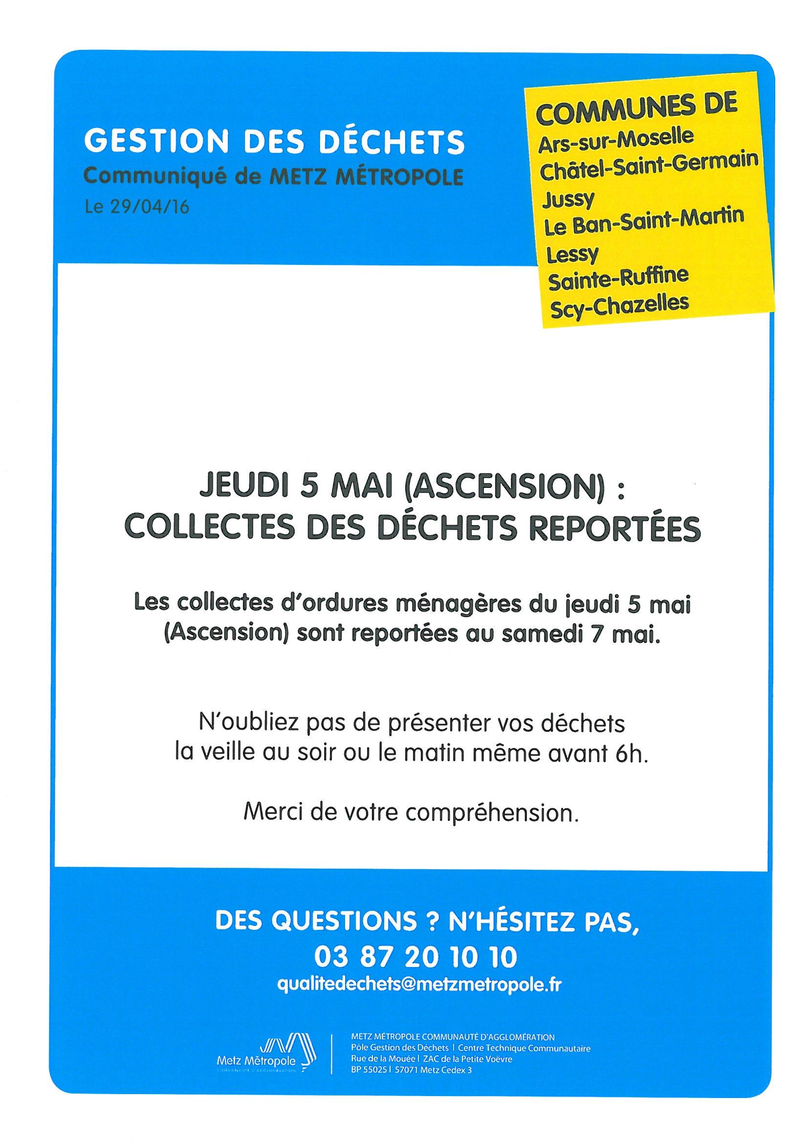 JEUDI ASCENSION - COLLECTE DES ORDURES MENAGERES reportée au samedi 7 mai
