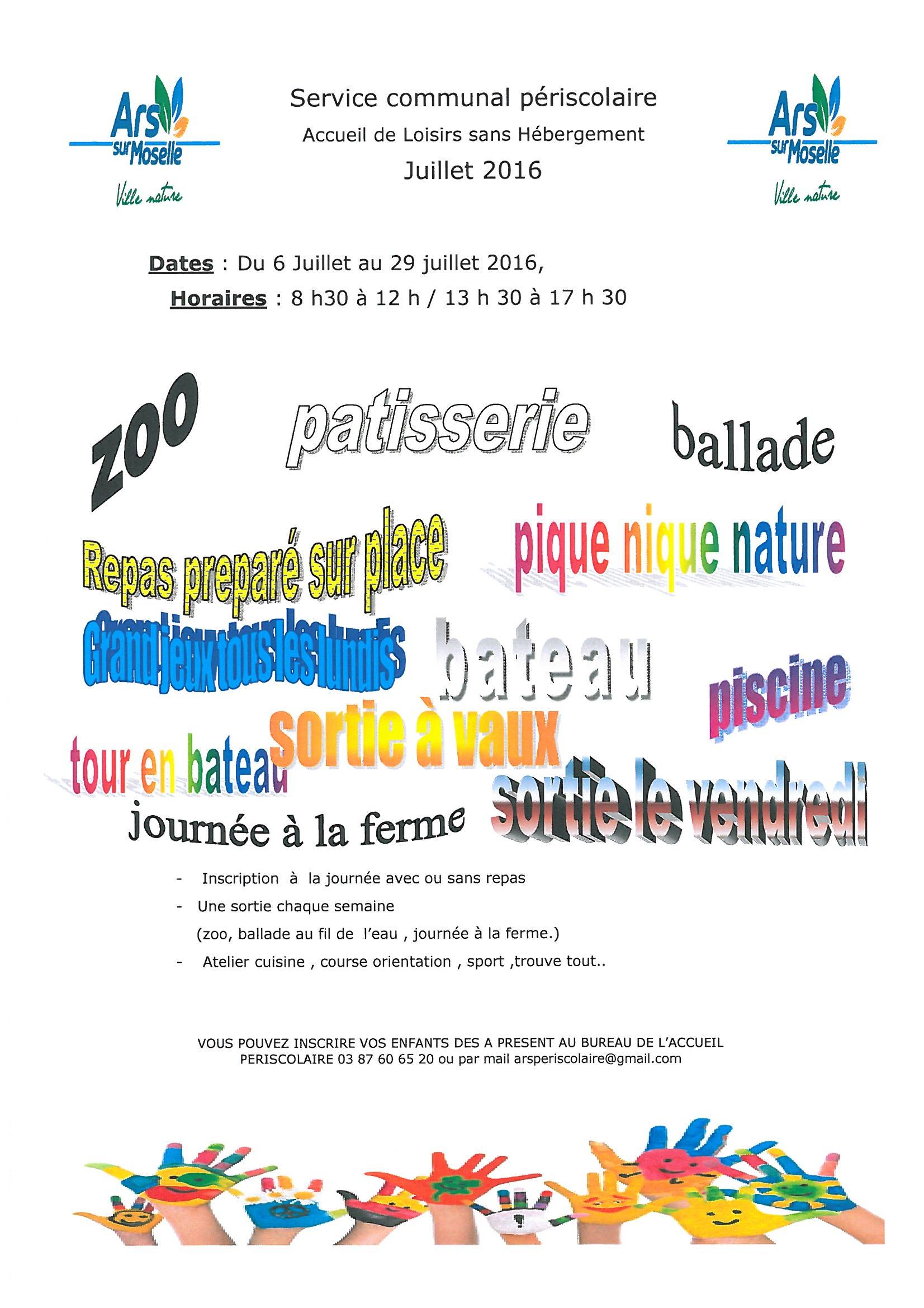 CENTRE DE LOISIRS du 6 au 29 juillet