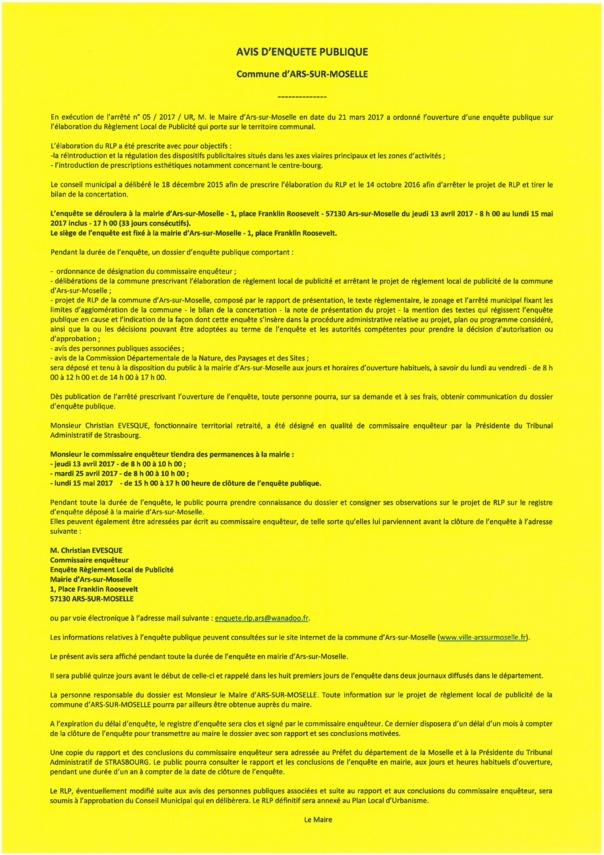 ENQUETE PUBLIQUE REGLEMENT LOCAL DE PUBLICITE