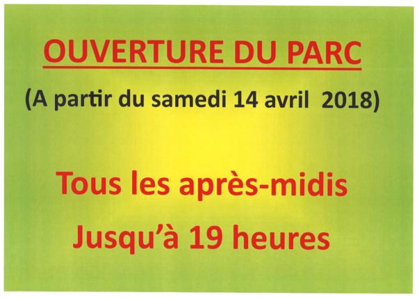 OUVERTURE DU PARC samedi 14 avril