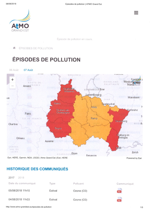 EPISODE DE POLLUTION lundi 6 août