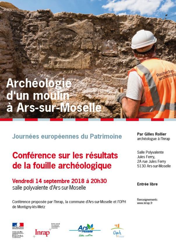 CONFERENCE FOUILLE ARCHEOLOGIQUE DU MOULIN D'ARS/MOSELLE vendredi 14 sept.