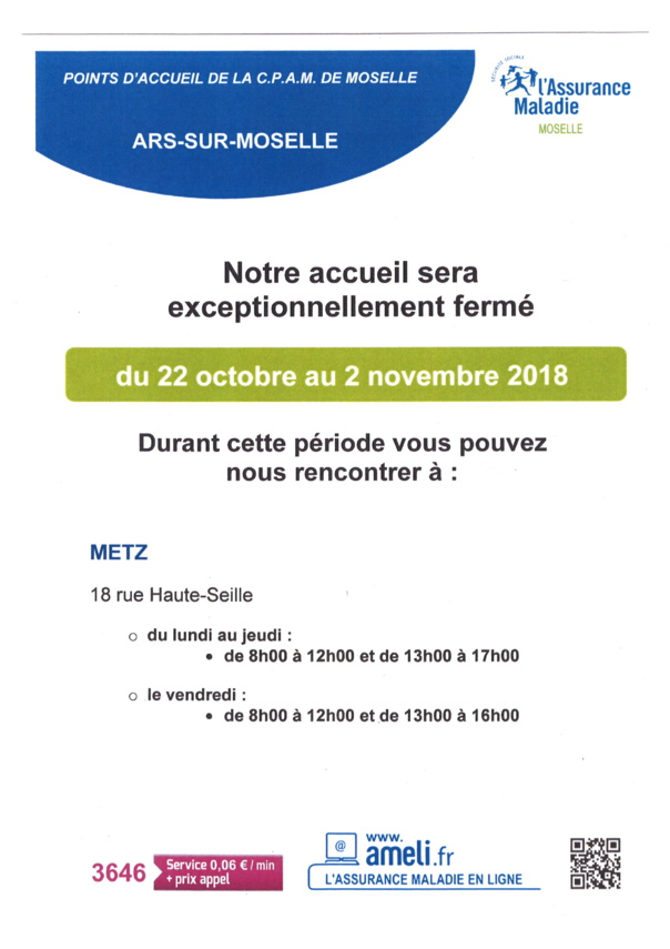 ACCUEIL CPAM fermé du 22 octobre au 2 novembre