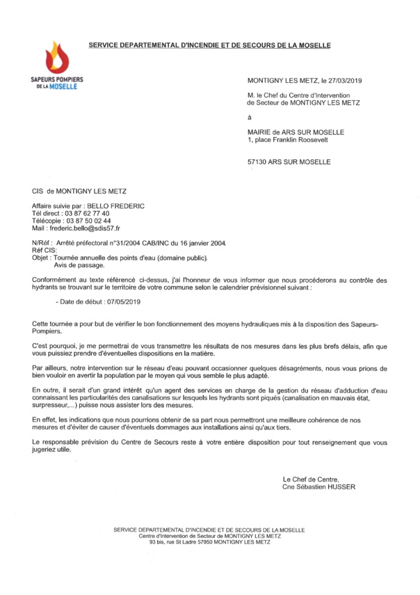 DEBUT DE LA TOURNEE ANNUELLE DES POINTS D'EAU  mardi  7 mai