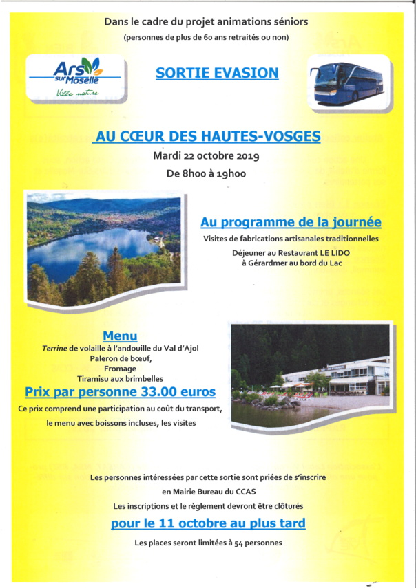SORTIE EVASION - AU COEUR DES VOSGES mardi 22 octobre