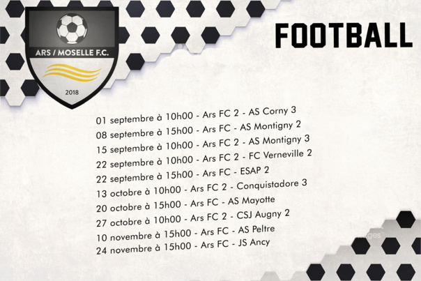 ARS/MOSELLE F.C planning  des matchs de football - sept.oct.nov.2019