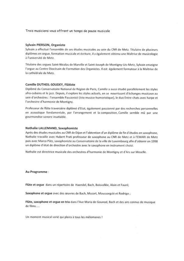 CONCERT DE L'EGLISE samedi 19 octobre