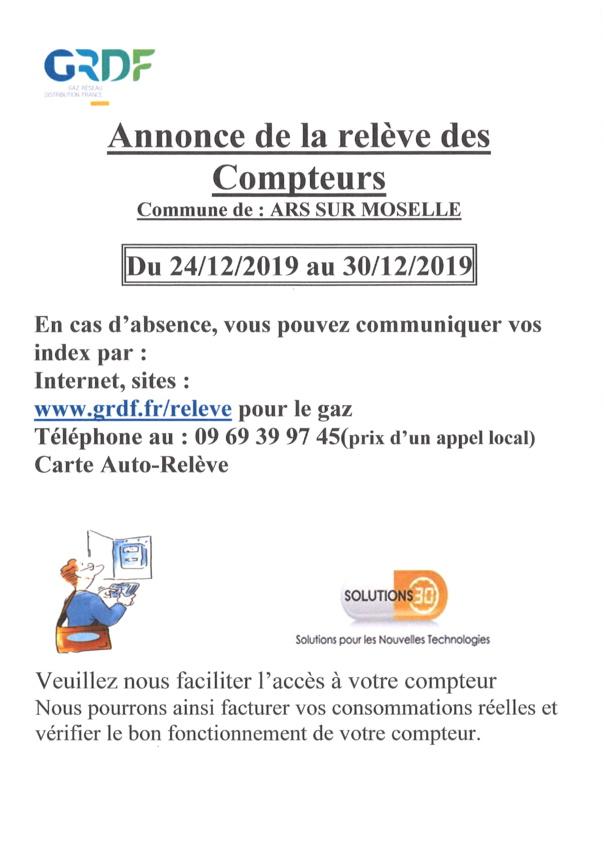 RELEVE DES COMPTEURS GRDF du 24 au 30 décembre