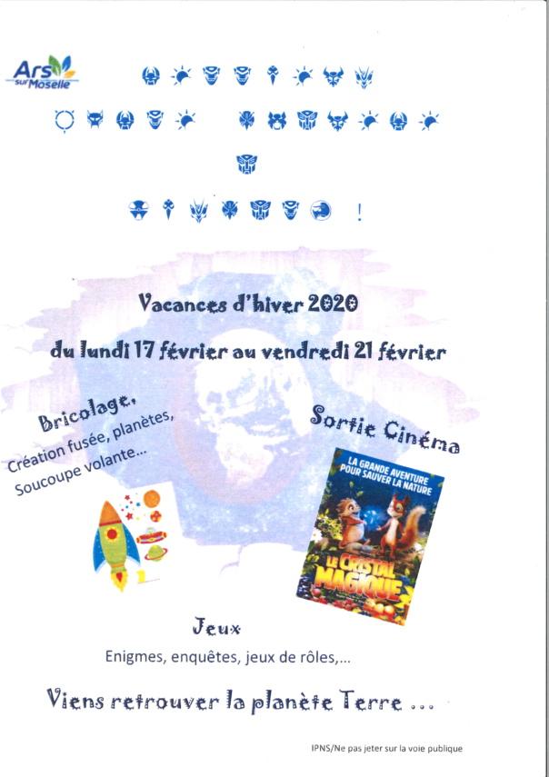 VACANCES D'HIVER du 17 au 21 février