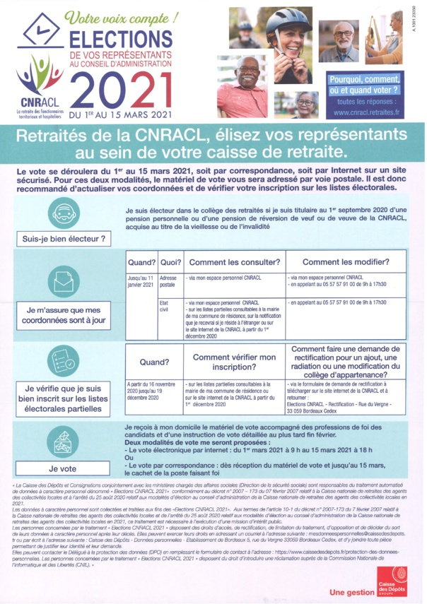 ELECTIONS des representants au conseil d'administration des retraités de la  CNRACL du 1er au 15 mars 2021