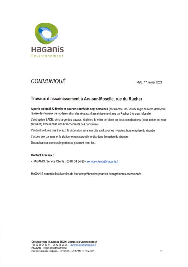 TRAVAUX D'ASSAINISSEMENT rue du Rucher à partir du 22 février