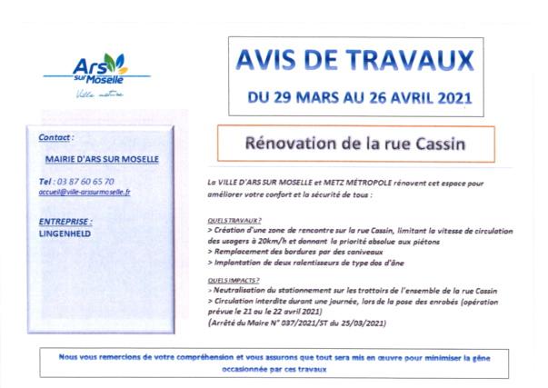 AVIS DE TRAVAUX rénovation de la rue Cassin du 29 mars au 26 avril