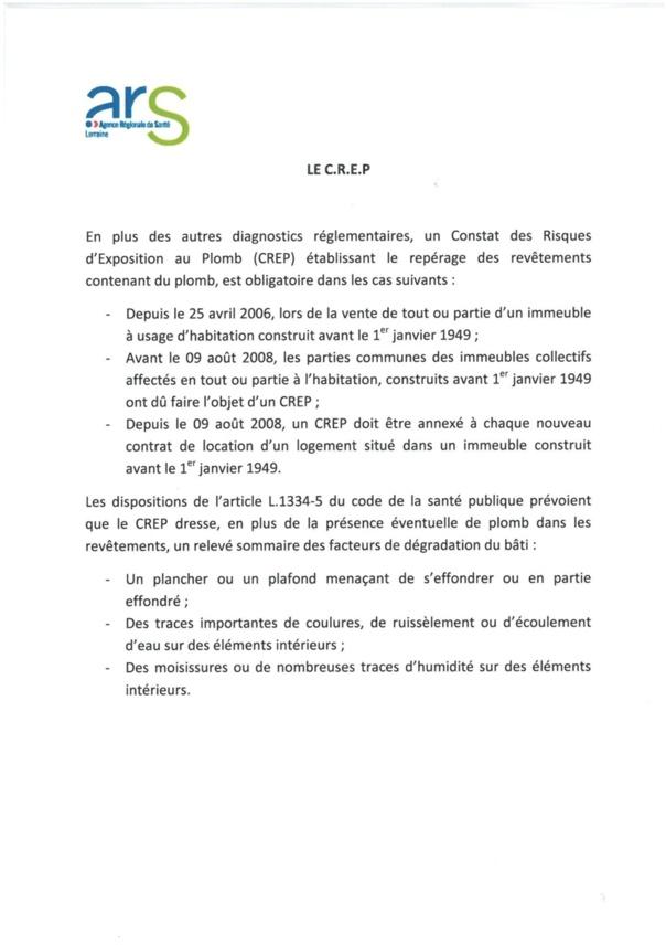 CONSTAT DES RISQUES D'EXPOSITION AU PLOMB (CREP)