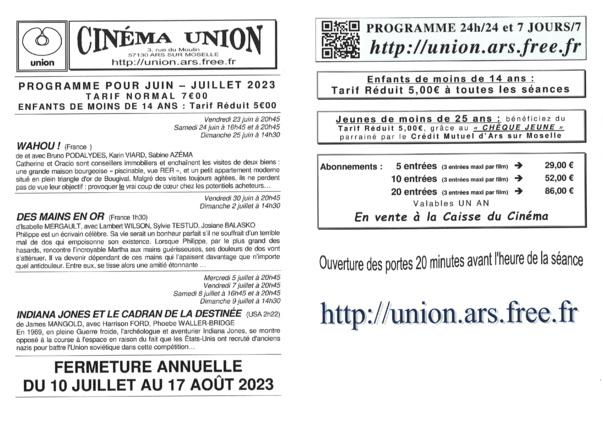 CINEMA UNION  septembre-octobre 2021