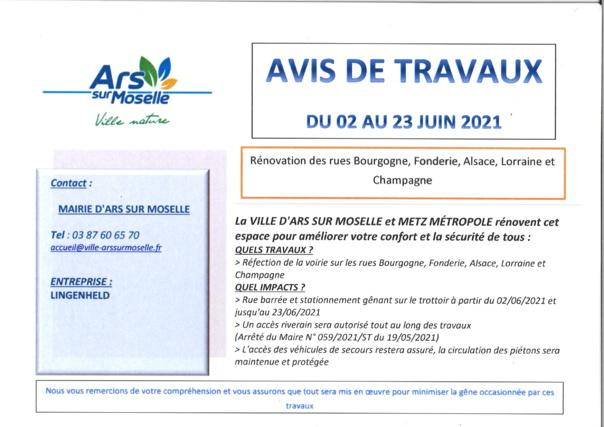 AVIS DE TRAVAUX rues Bourgogne, Fonderie, Alsace, Lorraine et Champagne du 2 au 23 juin 2021