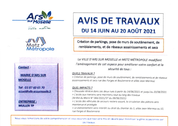 AVIS DE TRAVAUX du 14 juin au 20 août 2021 rue des Forges et Boulonneries et allée Jean Mermoz